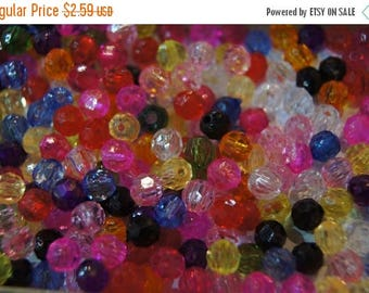 SUMMER CLEARANCE CLOSEOUT Sale - Assorted Faceted Round Acrylic Beads - 6mm - 200 pcs