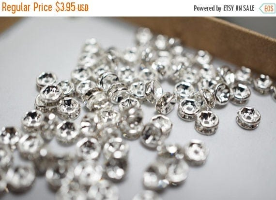 SUMMER GEM SALE Silver Plated with White Rhinestone Spacers - 4mm - 20 pcs