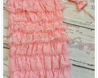Petti Romper Vintage Pink lace body suit