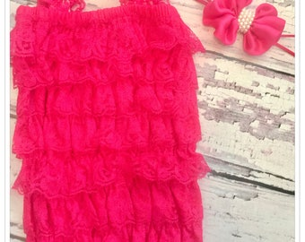 Petti Romper Vintage shocking Pink lace body suit