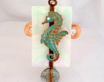Seahorse Nightlight, glass and copper night light, beachy night light, hostess gift