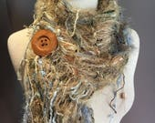 Handmade Knit Fringe Scarf with Button, Dumpster Diva, Modern Camo, handmade tan blue scarf, beige blue fashion, fluffy scarves, boho chic