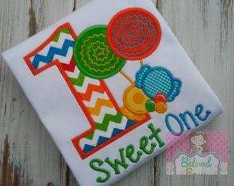 Sweet One Birthday Boy Applique Shirt, Boys First Birthday Shirt, Candy Birthday Shirt, Bright Birthday Shirt