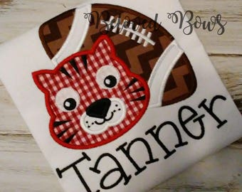 Football Macot Applique Shirt, Tiger Football Shirt, School Mascot Shirt, Football Shirt, Football Brother Shirt, Mascot Tiger Shirt