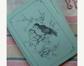 ONSALE Antique French Blue Aqua Beautiful Bird Images for Altered Art