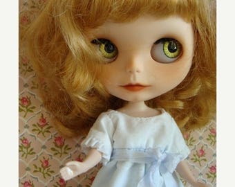 ONSALE Blythe Vintage Handmade Skipper Swiss Polka dot Beautiful Pale Blue Cotton Fully Lined Dress