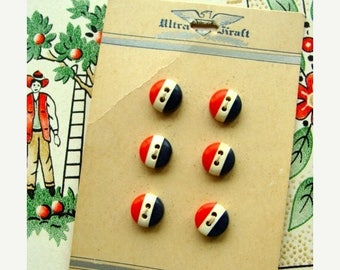 ONSALE One Vintage Kitsch Americana Red White and Blue Button set on Original Card