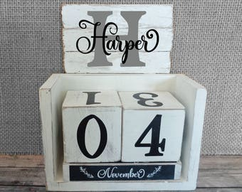 Personalized Block Perpetual Calendar Farmhouse style Shabby Chic