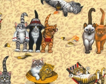 "Kittens at the Beach Cotton Fabric ~ 43"" x 17"" remnant"