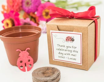 Plantable Seed Paper Red Lady Bug Birthday Party Favors, Red Ribbon, Eco Friendly Plantable Paper Flower Pots,  Personalized Kids Activity