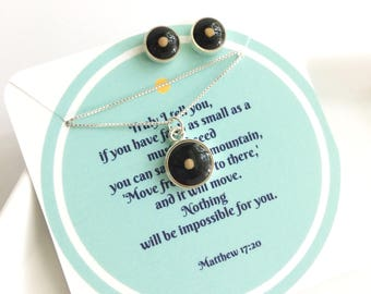 mustard seed earrings and necklace. bible verse jewelry set.  dainty scripture gift. silver mustard seed jewelry.  wedding gift set for her.