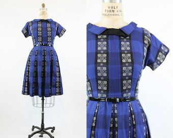 50s Dress Cotton Medium  / 1950s Vintage Dress Full Skirt  / Blue Bayou Dress