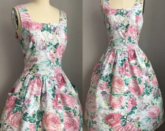 Vintage 90's does 1950's India Cotton Pink Cabbage Roses and Hydrangea Sun Dress with pockets Size Medium