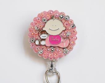 Baby Girl Charmed ID Badge Reel - Retractable ID Badge Holder - Zipperedheart