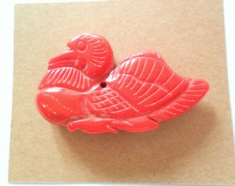"1 5/8"" Bamboo Coral 2 Sided Carved Duck Bead Finding"