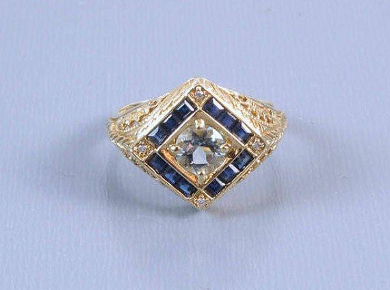 Modern estate 14k gold filigree blue sapphire aquamarine and diamond halo ring, size 6-1/4
