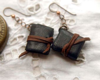 Whisper - Miniature Leather Book-Earrings, Tea Stained Pages, Trinket Box, OOAK