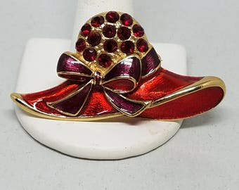 Red Hat Society Red Enamel Red Rhinestones Fancy Hat Pin