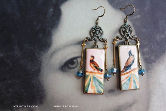 Portugal Earrings BIRD Frescoes from Palace of Queluz Dona Maria's chambers - Reversible Feminine - Czech glass beads - Ships from USA
