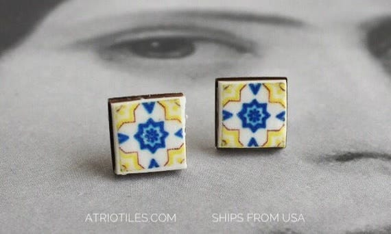 Stud Earrings PORTUGAL Tile Antique - Ovar  and Aveiro- Yellow and Blue - Stainless Steel Posts - Hypo Allergenic - Gift Boxed 582