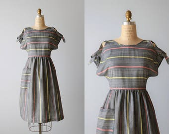 Vintage 1980s Dress Sundress / 1980s Cotton Cap Sleeve Dress Size M / Split Sleeves with Ties