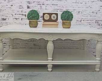 Coffee Table, Distressed White Cottage Style -TB602- Shabby Vintage Farmhouse Chic, French Country