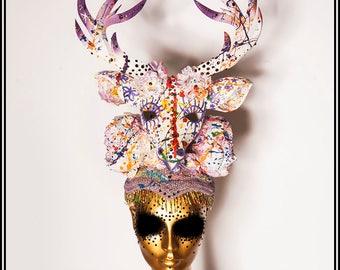Rainbow Deer... Deer Headdress in White with Rainbow Splatters and Flowers Gay Pride
