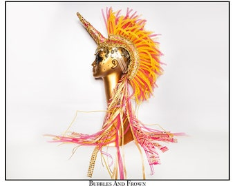 Pink Flames… Unicorn Mohawk in Hot Pink, Yellow and Gold, with Gold Coins Ruffles and Ribbons
