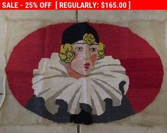 Antique French Needlepoint Pierrot Clown Art Deco