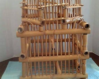 Victorian Bamboo Bird Cage 1970s