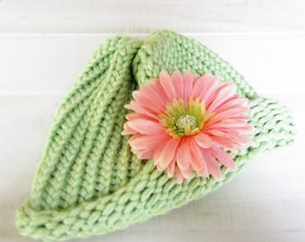Sage Green Cloche Adult Hand Knit Hat with Removable Coral Color Flower Clip Ready to Ship