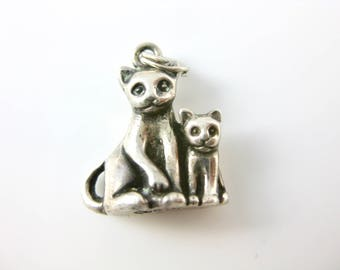Vintage Two Cat Sterling Silver Charm