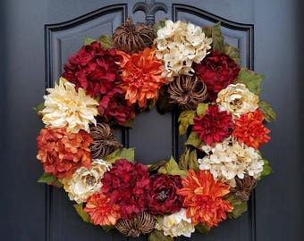 FALL WREATHS for Front Door, Fall Wreathes, Front Door Fall Wreaths, Autumn Decor, Autumn Wreaths, Thanksgiving Decor, XL Fall Wreaths