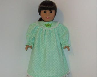 """Light Green Flannel Nightgown, Fits 18"""" Dolls // AG Nightgown, American Girl, AG Doll Clothes, Sleepwear, Mint Green"""