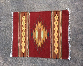 Native American Handwoven Small Rug in Reds and Golds
