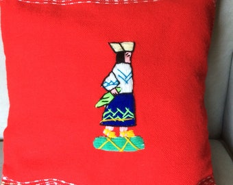 Pair of Red Square Throw Pillows with Stitched Peruvians in Ancient Dress