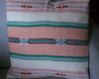 Handwoven Square Throw Pillow, Cotton, Southwestern Design, Pastel Pinks and Greens