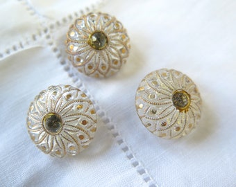 Vintage Czech Glass Buttons in Clear and Metallic Gold Set with Rhinestones Set/3