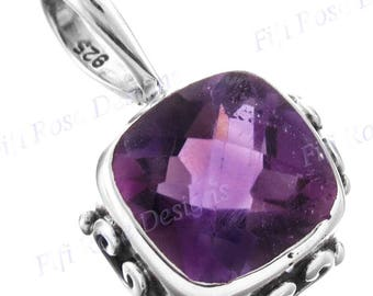 "3/4"" Gorgeous 9mm Amethyst 925 Sterling Silver Pendant"