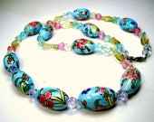 RESERVED Susan, Chinese Painted Porcelain Floral Tube Beads, w Pink, Clear N Pastel Blue Glass Beads, OOAK Necklace by Rachelle Starr