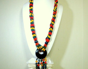 RED Yellow Blue Multistrand  Bead Necklace, Tribal Fringed Large Colorful Pendant Center 1980s, 6 Twisted Strands, Primary Color Block