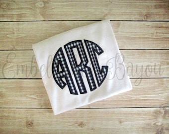 Gingham Applique Circle Monogram T-shirt or Onesie for Boys or Girls