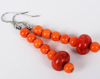 Orange Coral and Red Sponge Coral Earrings (001481)