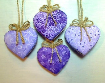 Purple/Lavender Heart Ornaments |Bridal Wedding | Party Favors | Valentine's Day | Holidays | Tree Ornament | Handmade Gift | Set/4 | #1
