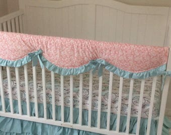 Baby Girl Baby Bedding Crib Set in Coral Mint Teal Peach Dreamcatcher Floral Feathers