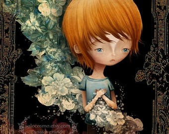 "50% Off SALE Fine Art Print - ""Flynn"" - Medium Sized 8.5x11 or 8x10 Giclee  - Jessica von Braun Artwork - Little Ginger Boy and Flowers"