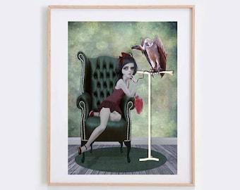 Vulture Art Print - Girl And Vulture - Digital/Mixed Media Art - A4 Art Print - Lowbrow Art - My Feathered Friend