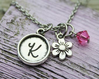 Personalized Flower Initial Charm Necklace