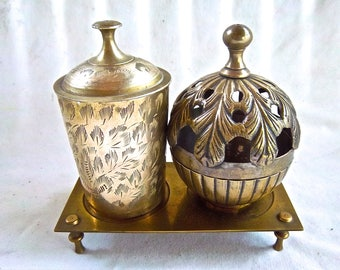Vintage Brass and Silver Plated Storage Boxes Jars Vintage Brass Decor and Stand Vintage Home and Living Home Decor Storage Organization Set