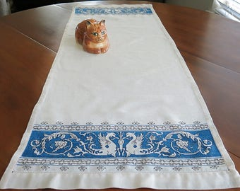 Assisi Table Runner Handmade Winged Dragons Blue Embroidery on Ivory Linen Vintage 1930s